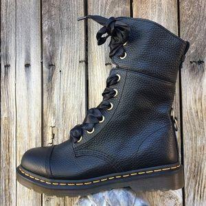 NWT Dr. Martens Aimilita Combat Boot Leather Black